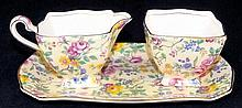 Chintz Cream & Sugar with Under Tray