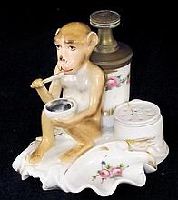 Hand Painted Porcelain Monkey Ink Well Desk Set