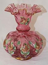 Hand Painted Fenton Cranberry Vase