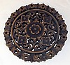 Carved Wooden Trivet with Floral Design