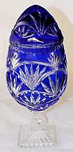 Blue Cut to Clear Jar with Lid in Shape of Egg