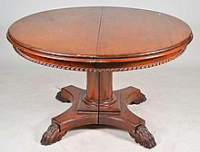 Carved Dining Table with Ornate Paw Foot Base