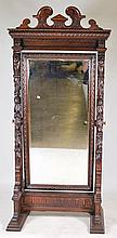 Ornately Carved Oak Cheval Mirror