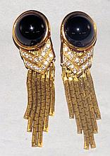 18 kt. Gold Diamond and Black Onyx Earrings