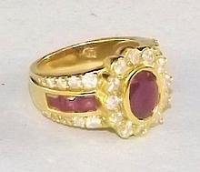 18 kt. Gold, Diamond and Ruby Ring