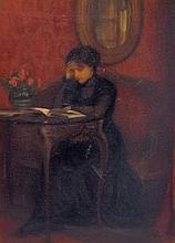 Oil on Canvas of Interior Scene in Gilt Frame
