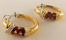 18K Gold La Nouvelle Bague Earrings with Diamonds