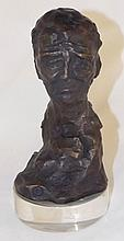Signed Bronze Figure on Lucite Base