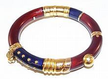 18 kt Gold & Sterling Enamel Bangle Bracelet