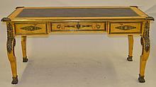Birdseye Maple Desk w/Leather Top & Bronze Mounts