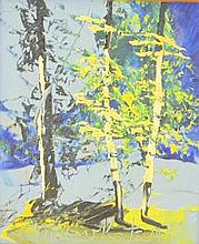 Morris Katz Oil on Board of Trees