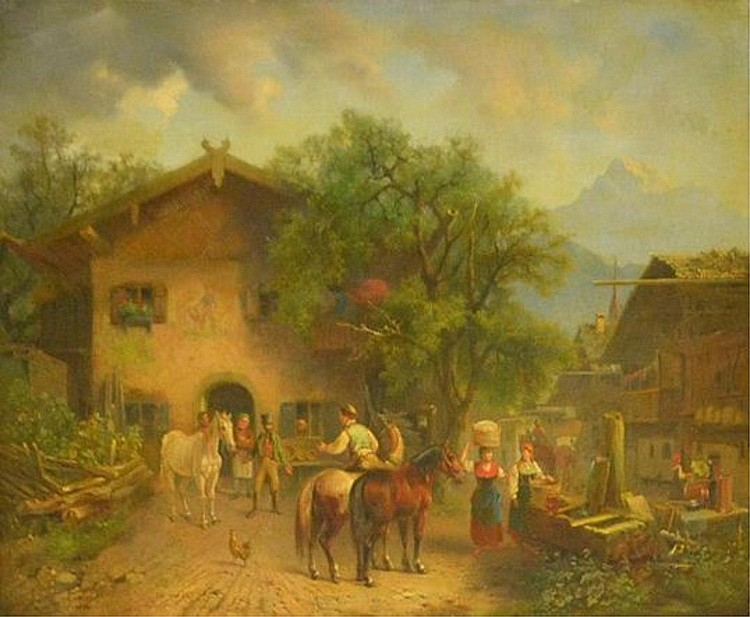 Karl Aerttinger Oil on Board of Farm Scene