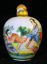 Signed Porcelain Snuff Bottle with Erotica Scene