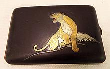 Cigarette Case With Tiger Inlay