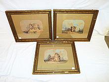 Set Of Three Watercolors Of Houses