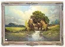 Artist Signed Pastel Landscape With Mill