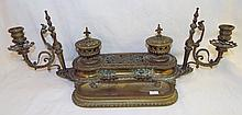 19th Century Bronze Ink Well With Candle Holders