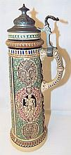 Figural Stein With Pewter Lid