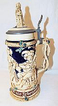 Germany Figural Stein With Pewter Lid
