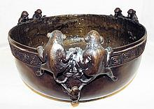 Bronze Bowl With Full Figural Monkeys