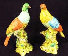 Pair Of French Porcelain Hand Painted Birds