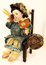 Signed Composition Doll In Carved Chair