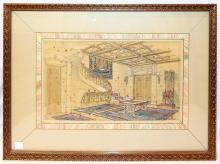 Thomas Bull Watercolor, Foyer, First Story