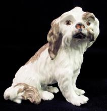 Hand Painted French Porcelain Dog Figurine