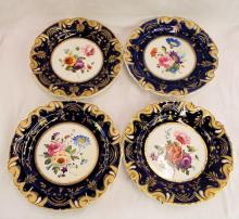 Set Of 4 Floral Hand Painted Plates