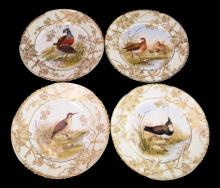 Set Of 4 Hand Painted Limoges Bird Plates