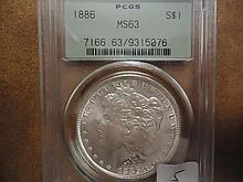 1886 MORGAN SILVER DOLLAR PCGS MS63