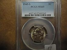 1945-S 35% SILVER JEFFERSON WAR NICKEL PCGS MS65