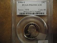 1986-S WASHINGTON QUARTER PCGS PR69 DCAM