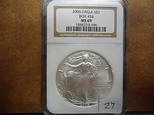 2006 AMERICAN SILVER EAGLE NGC MS69
