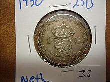 1930 NETHERLANDS SILVER GULDEN .2315 OZ. ASW