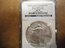 2011 AMERICAN SILVER EAGLE NGC MS70 EARLY
