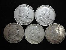 1948-D,49,53-D,63-D & 63-D FRANKLIN HALF DOLLARS
