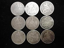 9 ASSORTED 1880'S SEATED LIBERTY DIMES