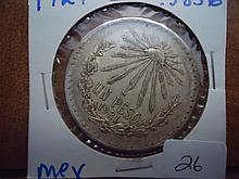 1921 MEXICO SILVER CAPS & RAYS PESO .3856 OZ. ASW