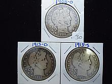1908-O,13-D & 15-S BARBER HALF DOLLARS