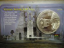 2002 GHANA SILVER 100 SIKA UNC 1 OZ.