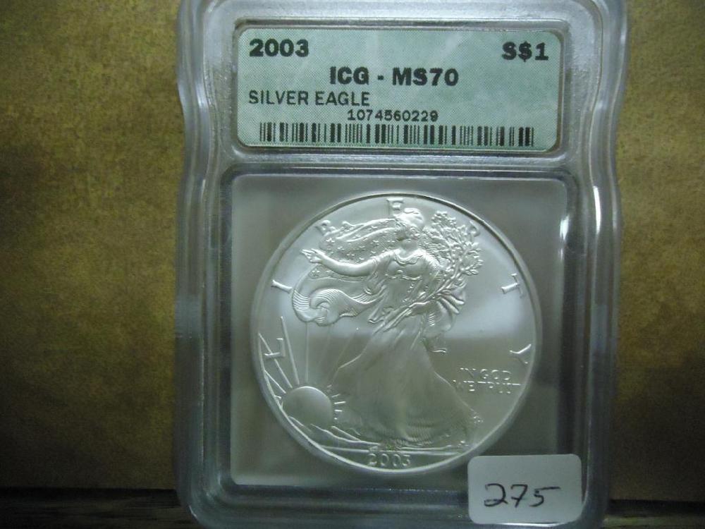 2003 AMERICAN SILVER EAGLE ICG MS70