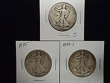 1934-S,35 & 39-S WALKING LIBERTY HALF DOLLARS