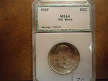 1959 FRANKLIN HALF DOLLAR PCI MS64 75% WHITE