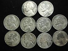 10 ASSORTED 35% SILVER JEFFERSON WAR NICKELS