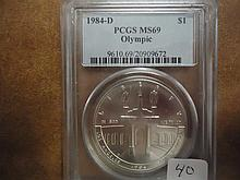 1984-D OLYMPIC SILVER DOLLAR PCGS MS69