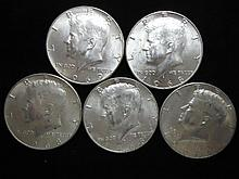 5 ASSORTED 40% SILVER KENNEDY HALF DOLLARS