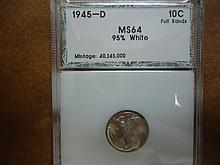 1945-D MERCURY DIME PCI MS64 95% WHITE