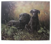 John Silver Watch With Mother Hand Signed Limited Edition Lithograph Black Labrador Retriever Art