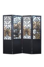 Black 4-panel Mirrored Screen